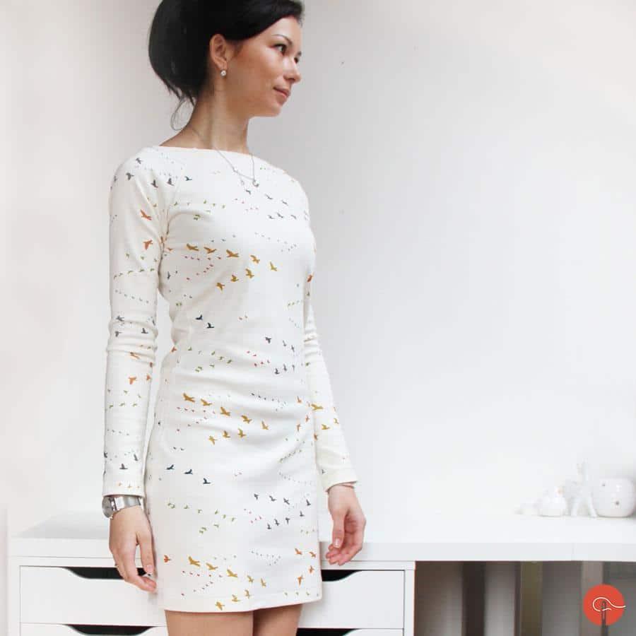 Handamde sewed womens dress made from organic cotton